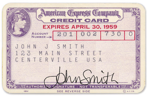 American Express 1958 Original Card Purple Paper