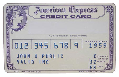 American Express AMEX First Plastic Card from 1960s