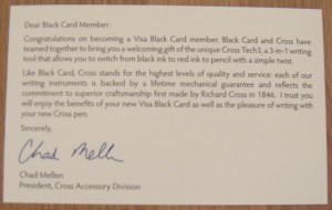 visa black card cross pen letter
